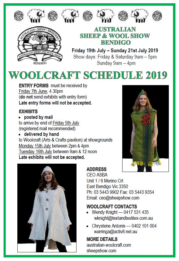 2019 Woolcraft Schedule cover
