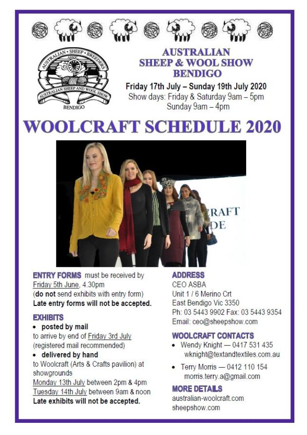2020 Woolcraft Schedule cover